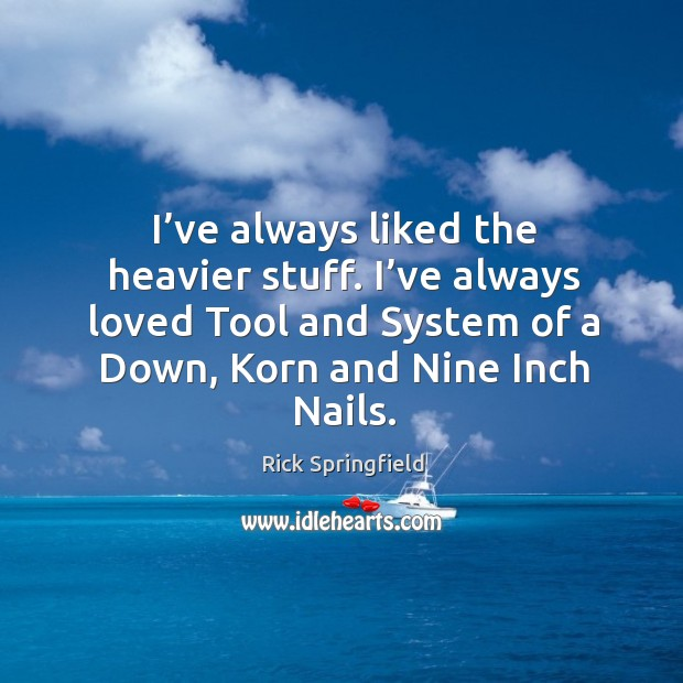 I've always liked the heavier stuff. I've always loved tool and system of a down, korn and nine inch nails. Rick Springfield Picture Quote