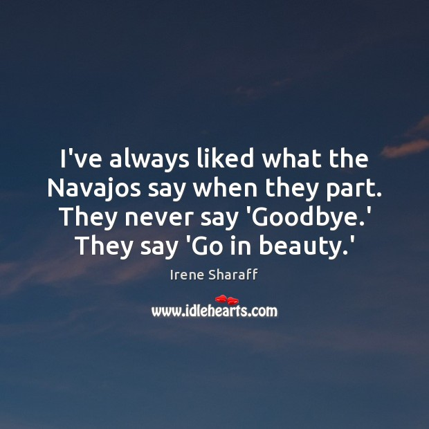 I've always liked what the Navajos say when they part. They never Goodbye Quotes Image
