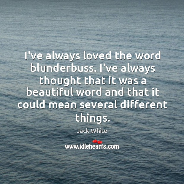 I've always loved the word blunderbuss. I've always thought that it was Image