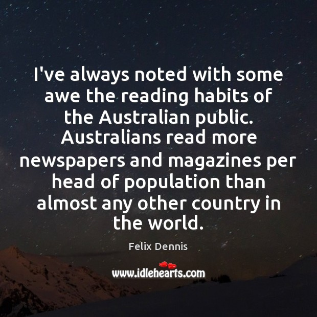 I've always noted with some awe the reading habits of the Australian Image