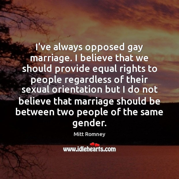 I've always opposed gay marriage. I believe that we should provide equal Image