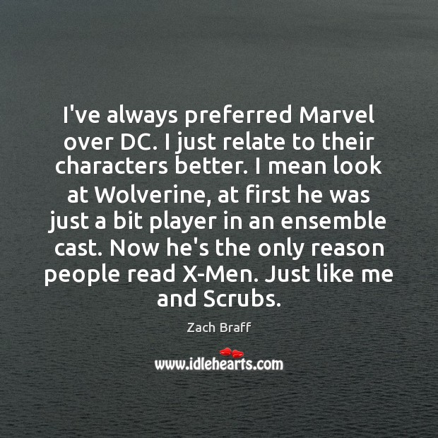 I've always preferred Marvel over DC. I just relate to their characters Image