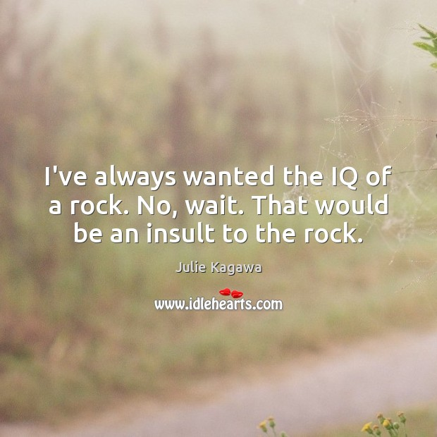 Image, I've always wanted the IQ of a rock. No, wait. That would be an insult to the rock.