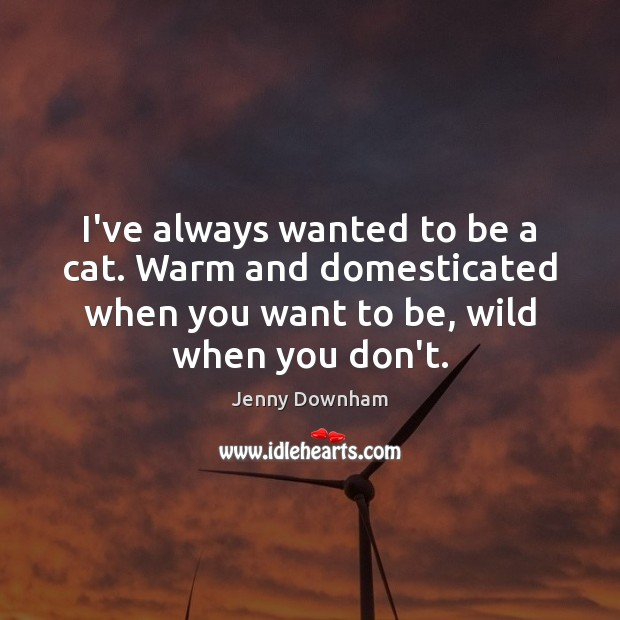 I've always wanted to be a cat. Warm and domesticated when you Jenny Downham Picture Quote