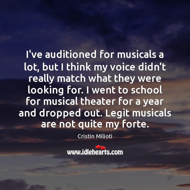 I've auditioned for musicals a lot, but I think my voice didn't School Quotes Image