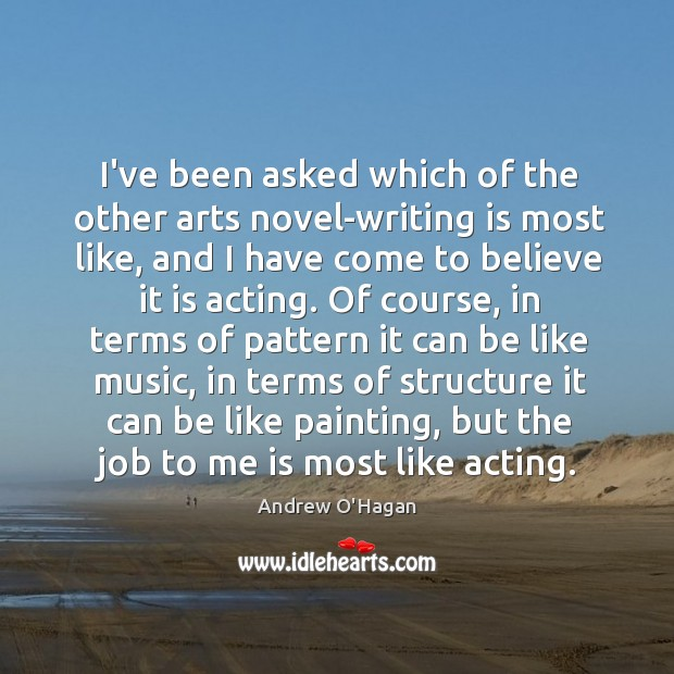 I've been asked which of the other arts novel-writing is most like, Image