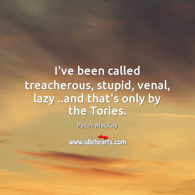 I've been called treacherous, stupid, venal, lazy ..and that's only by the Tories. Peter MacKay Picture Quote