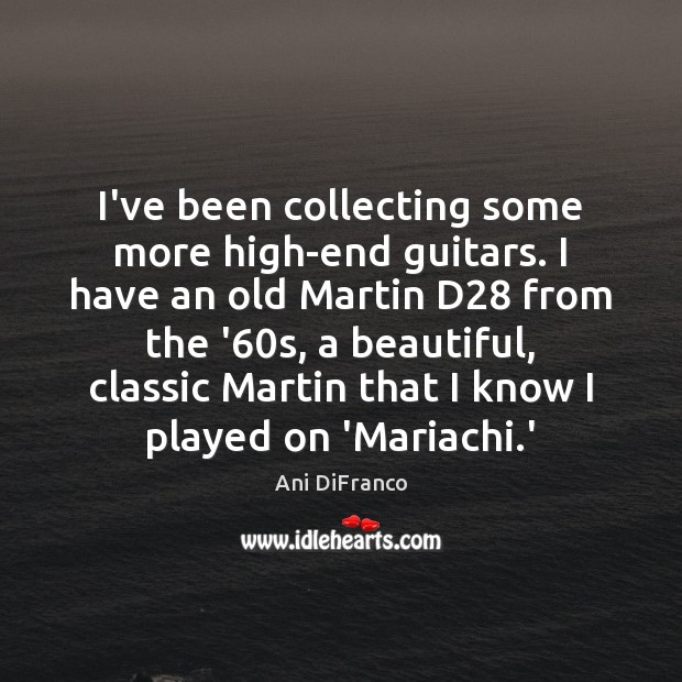 I've been collecting some more high-end guitars. I have an old Martin Ani DiFranco Picture Quote