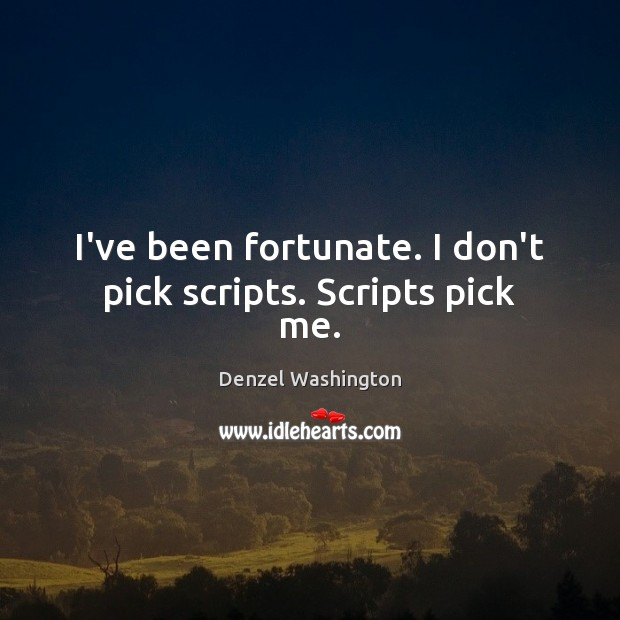 I've been fortunate. I don't pick scripts. Scripts pick me. Denzel Washington Picture Quote