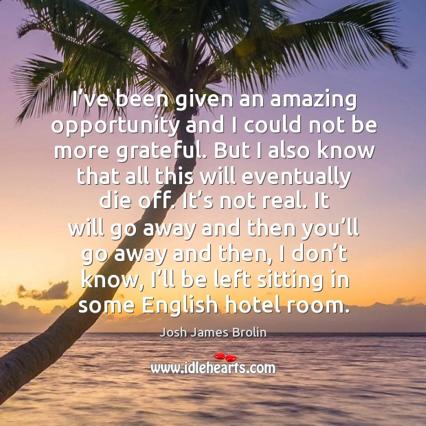 I've been given an amazing opportunity and I could not be more grateful. Josh James Brolin Picture Quote