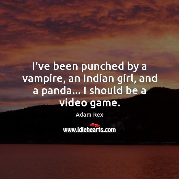 Image, I've been punched by a vampire, an Indian girl, and a panda… I should be a video game.
