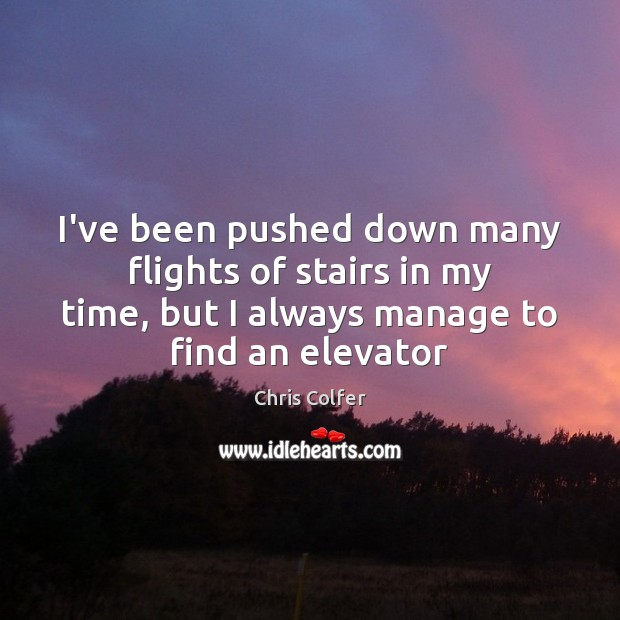 I've been pushed down many flights of stairs in my time, but Chris Colfer Picture Quote