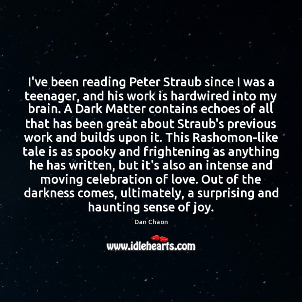 Image, I've been reading Peter Straub since I was a teenager, and his