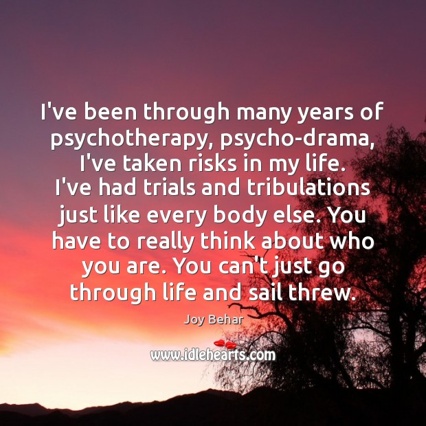 I've been through many years of psychotherapy, psycho-drama, I've taken risks in Joy Behar Picture Quote