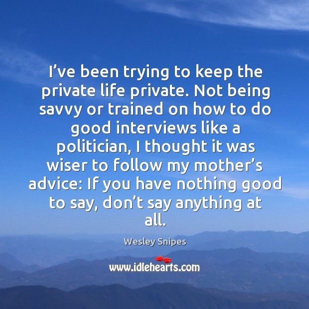 I've been trying to keep the private life private. Not being savvy or trained on how Wesley Snipes Picture Quote