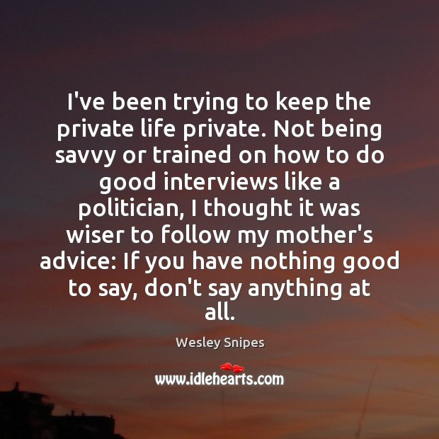 I've been trying to keep the private life private. Not being savvy Wesley Snipes Picture Quote