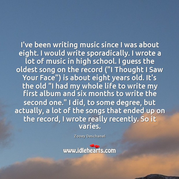 I've been writing music since I was about eight. I would write Image