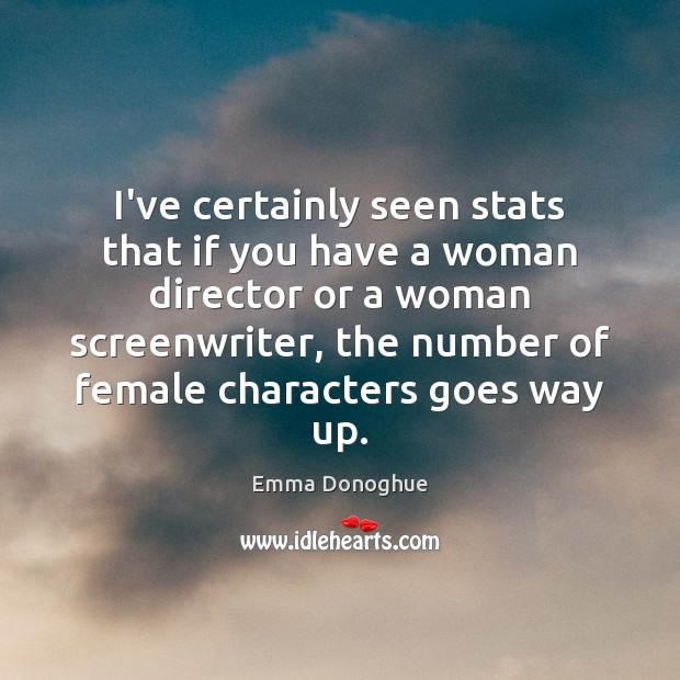 Image, I've certainly seen stats that if you have a woman director or