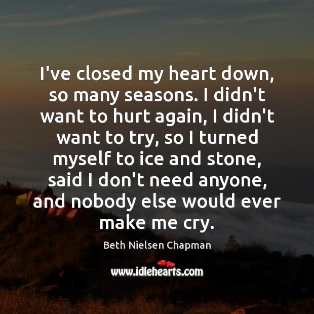 Image, I've closed my heart down, so many seasons. I didn't want to
