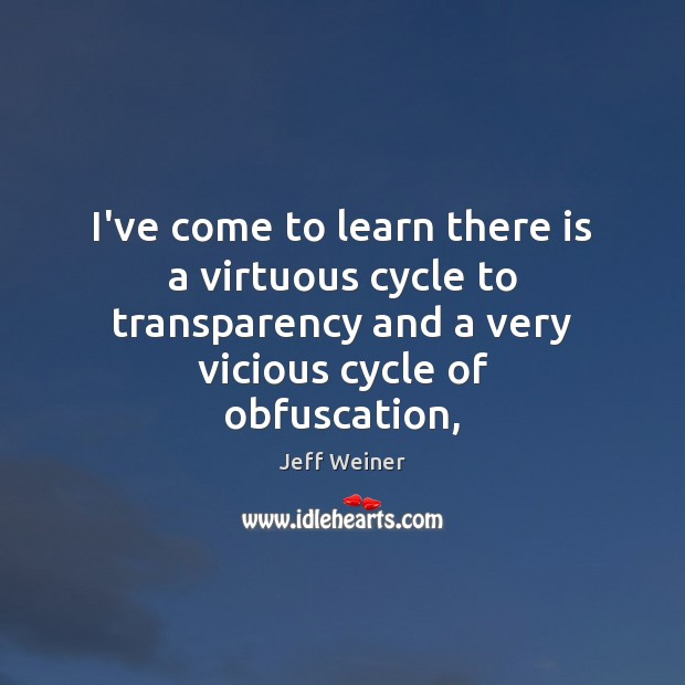 I've come to learn there is a virtuous cycle to transparency and Image