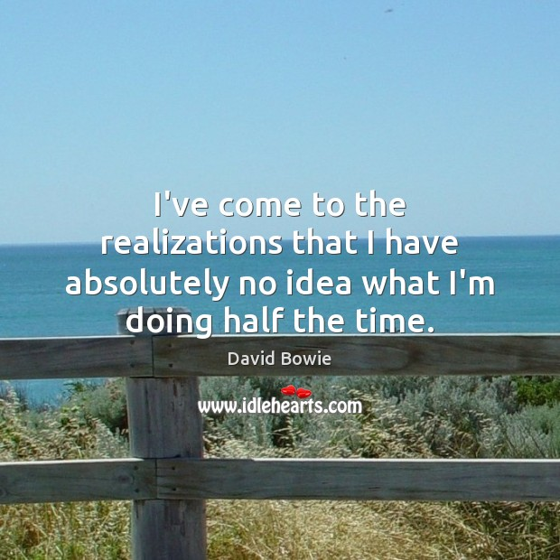 I've come to the realizations that I have absolutely no idea what I'm doing half the time. David Bowie Picture Quote
