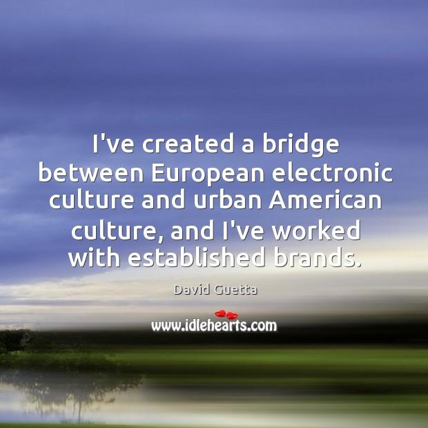 I've created a bridge between European electronic culture and urban American culture, David Guetta Picture Quote