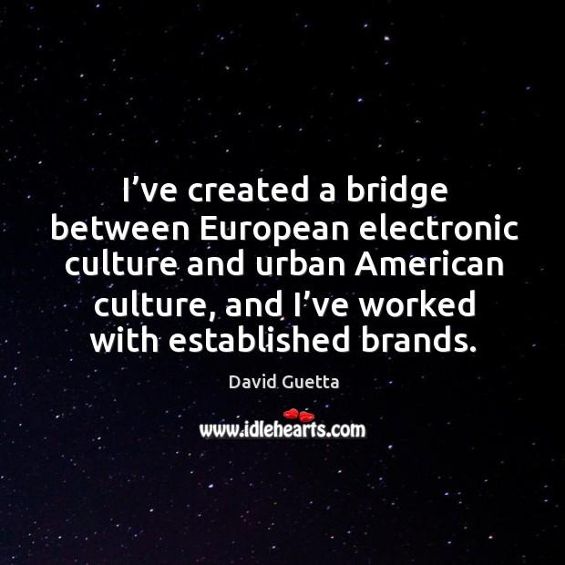 I've created a bridge between european electronic culture and urban american culture David Guetta Picture Quote