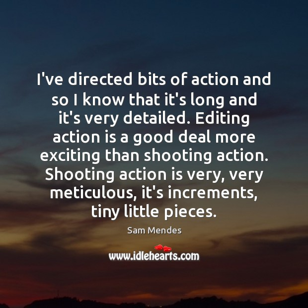 I've directed bits of action and so I know that it's long Action Quotes Image