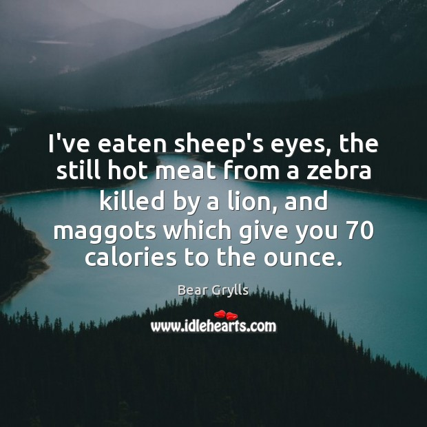 I've eaten sheep's eyes, the still hot meat from a zebra killed Bear Grylls Picture Quote