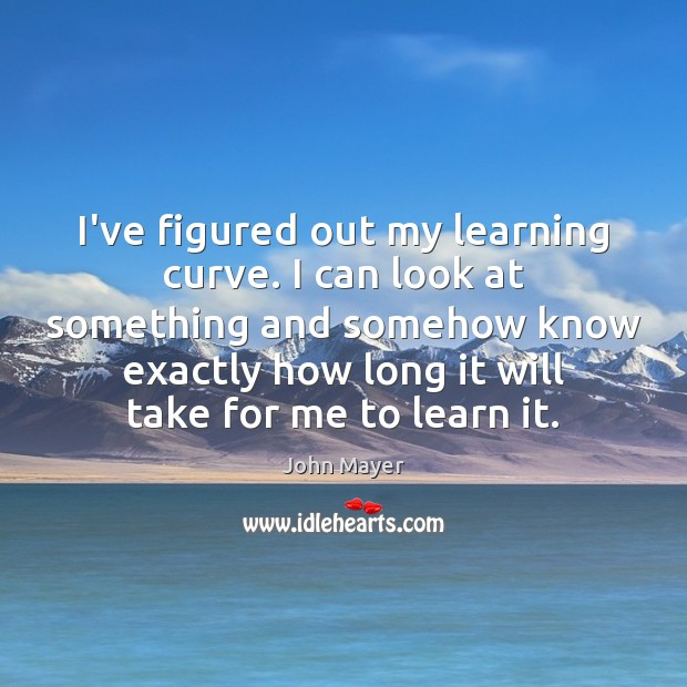 Image, I've figured out my learning curve. I can look at something and