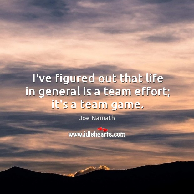 I've figured out that life in general is a team effort; it's a team game. Joe Namath Picture Quote