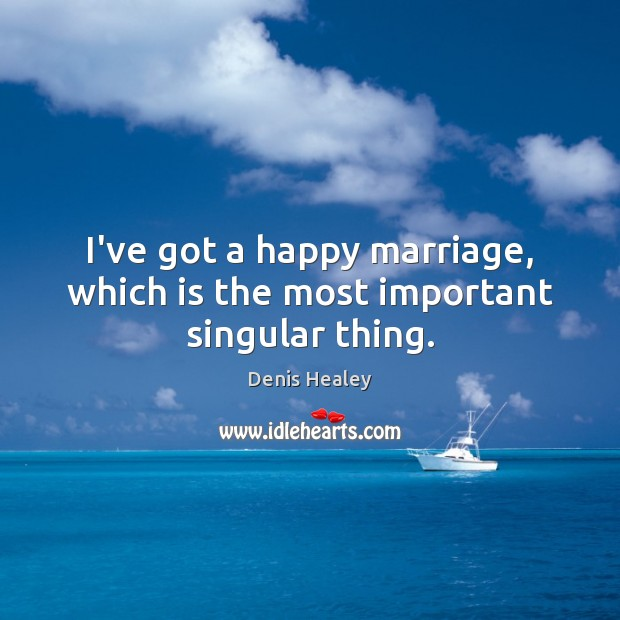 I've got a happy marriage, which is the most important singular thing. Denis Healey Picture Quote
