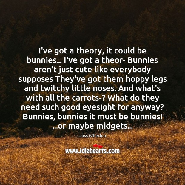 Image, I've got a theory, it could be bunnies… I've got a theor-