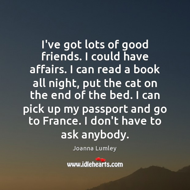 I've got lots of good friends. I could have affairs. I can Joanna Lumley Picture Quote