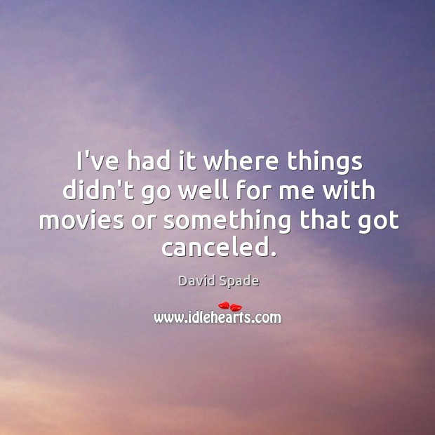 I've had it where things didn't go well for me with movies or something that got canceled. David Spade Picture Quote