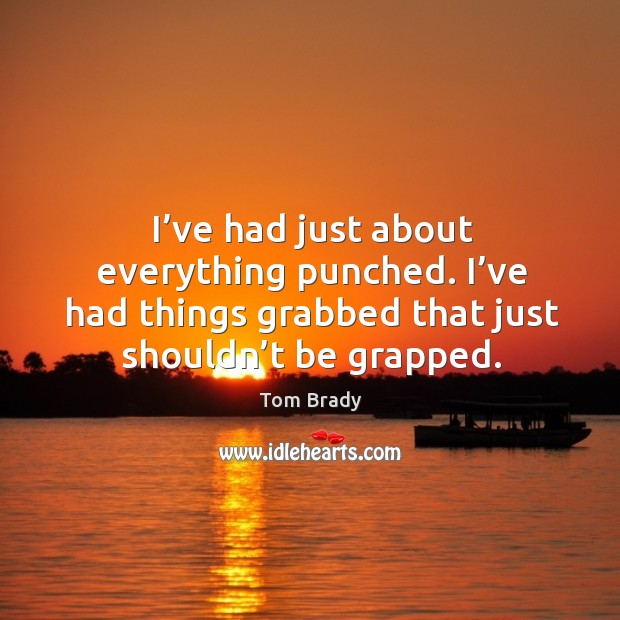 I've had just about everything punched. I've had things grabbed that just shouldn't be grapped. Image