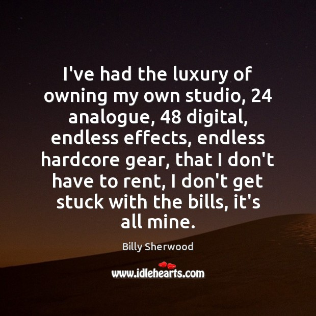 I've had the luxury of owning my own studio, 24 analogue, 48 digital, endless Billy Sherwood Picture Quote