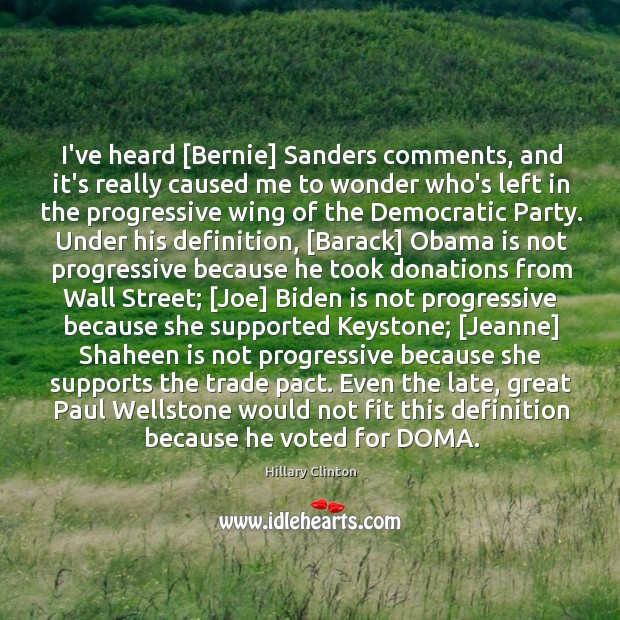 Image, I've heard [Bernie] Sanders comments, and it's really caused me to wonder