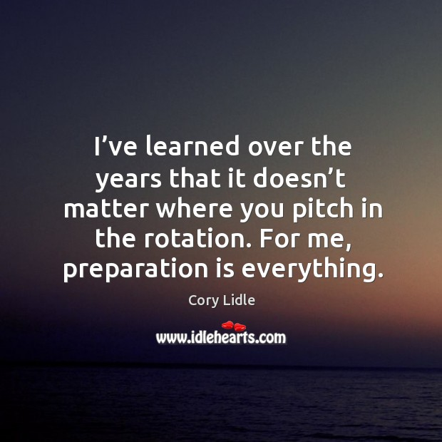 Image, I've learned over the years that it doesn't matter where you pitch in the rotation.