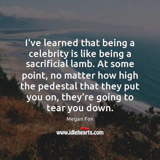 I've learned that being a celebrity is like being a sacrificial lamb. Megan Fox Picture Quote