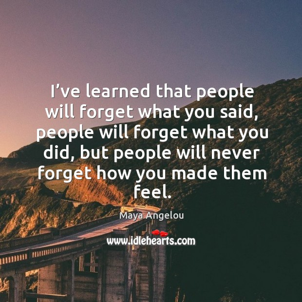 Image, I've learned that people will forget what you said, people will forget what you did.