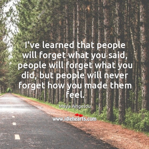 Image, I've learned that people will forget what you said, people will forget