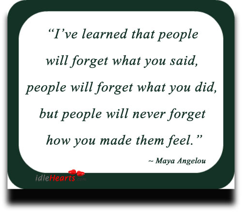 Image, I've learned that people will never forget how you made them feel