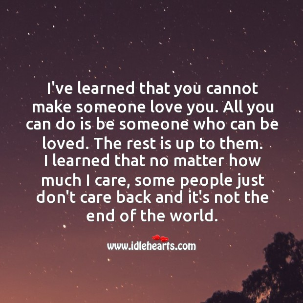 I've learned that you cannot make someone love you. Care Quotes Image