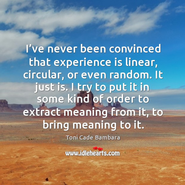 I've never been convinced that experience is linear, circular, or even random. It just is. Toni Cade Bambara Picture Quote
