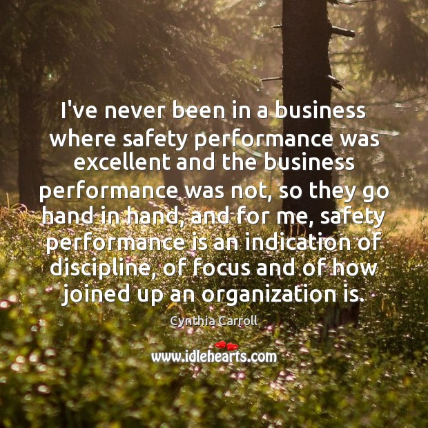 I've never been in a business where safety performance was excellent and Performance Quotes Image