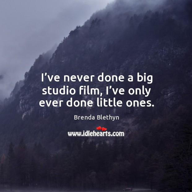 Image, I've never done a big studio film, I've only ever done little ones.