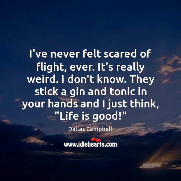 I've never felt scared of flight, ever. It's really weird. I don't Image