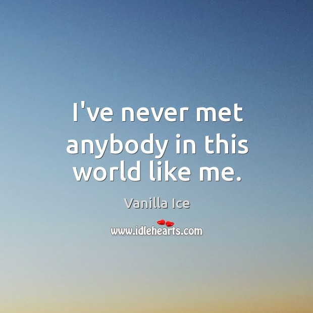 Image, I've never met anybody in this world like me.