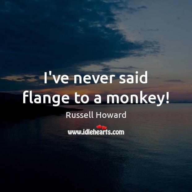 I've never said flange to a monkey! Image